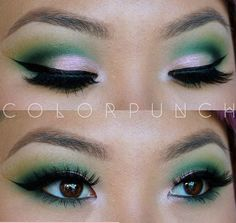 green eyeshadow for brown eyes, cut crease eyeshadow, asian eye makeup