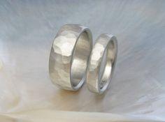 hammered white gold wedding bands wedding ring by RavensRefuge, $1552.00