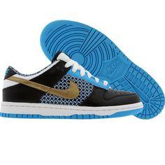 Sweet kicks: Nike Womens Dunk Low 6.0 (black / metallic gold / vivid blue / white) $64.99