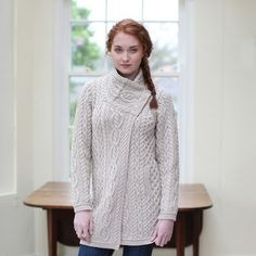 100% Irish Merino Wool Ladies 3 Button Aran Coat by Natallia Kulikouskaya  for AranCrafts of 52dfbe969