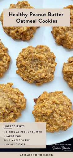 This 4 ingredient healthy peanut butter and oatmeal cookie recipe is about to be your new favorite! It's perfect for quick snack in between lunch and dinner or even for dessert! All you need is peanut Healthy Cookies, Healthy Sweets, Healthy Dessert Recipes, Healthy Baking, Healthy Desserts Peanut Butter, Eating Healthy, Peanut Snacks, Healthy Food, Healthy Oatmeal Recipes