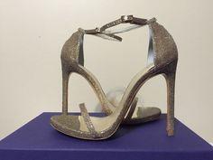 Stuart Weitzman Nudist Platinum Noir Glitter Fabric Women's Heels Sandals 8 M #StuartWeitzman #FashionHeelsAnkleStrapSandals