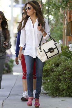 white blouse, jeans