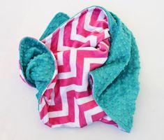 PINK CHEVRON MINKY Baby Stroller Blanket with Teal Dot MInky 30x30