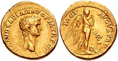 Gold coin of Emperor Claudius. He reigned in 41-54 AD.