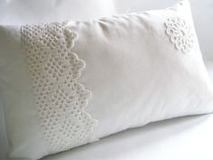 Decorative Pillow Case 20X12 White Cotton Bedding Shabby Chic Wedding Gift Idea for Her Bedroom Home Decor