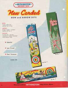 Withington new carded bow arrow sets