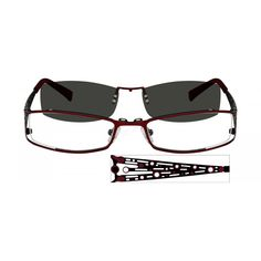 dc0a58b14d Red Stainless Steel Full-Rim Frame with Polarized Magnetic Snap-on Sunlens   587218