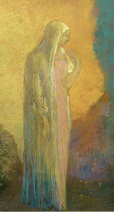 By Odilon Redon (1840-1916), Standing Veiled Woman, Paper, pastel, graphite, black pencil. (Detail)