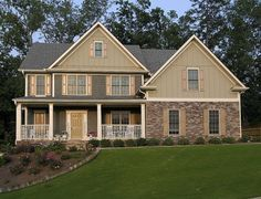 <ul><li>A wide front porch bedecks the front of this charming Farmhouse home plan with a partial stone facade for added interest. </li><li>Inside, an open floorplan enhances the traffic flow. </li><li>Built-ins flank the fireplace in the two-story living room that opens to the kitchen and sunny breakfast nook. </li><li>A large sun deck encourages you to sit and enjoy the fresh air or watch the kids play. </li><li>Right off the garage is a drop zone with a built-in seat and cubbyhole…