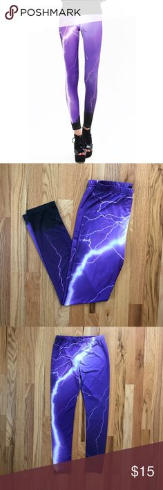 "Lightning print leggings Purple lighting photo print leggings by Romwe. Stretchy and soft. Similar to Black Milk style. New, never worn! | Measurements: waist (unstretched) 11.75""/waist (stretched) 17""/inseam 27"" 