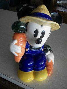 $18.88 Retired Disney Farmer Mickey Mouse Cookie Jar by Treasure Craft.