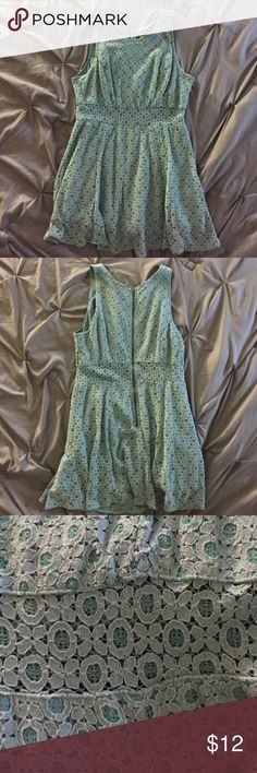 Sea foam green Mudd Dress Beautiful Sea foam Green Mudd dress with a crochet pattern. There is an unlined portion in the center of the dress making it a super cute choice for a night out! The dress was worn once. Mudd Dresses Mini