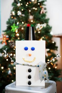 Recycled Cereal Box Snowman