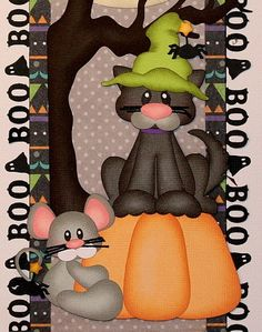 """""""Scaredy Cat"""" vertical border for scrapbook pages."""