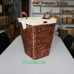 Home24h co,.ltd: Basket with Liner Water hyacinth Material / Linen Baskets. Wire Baskets, Hand woven and Eco-friendly