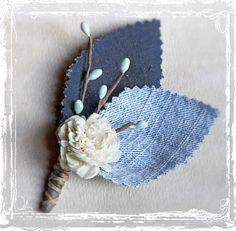 Casual Guy Denim Boutonniere - Blue Jeans - Wedding Lapel Pin - Groom, Groomsmen - Spring Summer Picnic Cowboy Country Western Weddings. $12.00, via Etsy.