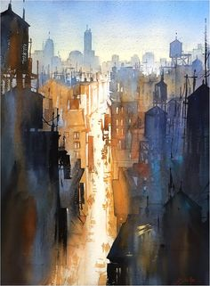 """We Never Sleep"" Thomas W Schaller. Watercolor - 76x56 cm on #Fabriano Artistico - 2015"