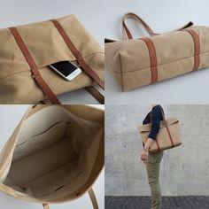 革と帆布のトートバッグ チノベージュ