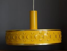 RETRO Vintage 70 s OP ART YELLOW Ceiling LAMP German Design Accessory Space Age