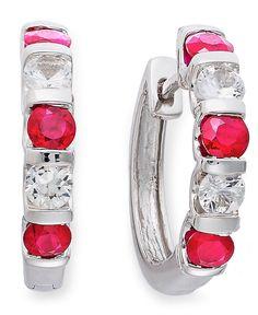 Sterling Silver Earrings, Ruby (1-3/8 ct. t.w.) and White Sapphire (9/10 ct. t.w.) Hoop Earrings