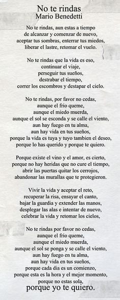 mario benedetti poemas no te rindas image search results The Words, More Than Words, Citation Gandhi, Spanish Quotes, Latin Quotes, Beautiful Words, Favorite Quotes, Quotations, Me Quotes
