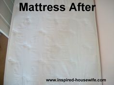 Mattress Pee Stain Removal     Getting Started:  You need a measuring cup, tablespoon, funnel, and spray bottle.  8 ounces/237 ml hydrogen peroxide 3% (this can be found in a brown bottle in the first aid aisle of most pharmacies or stores)  3 tablespoons/14.29 grams of baking soda  1 drop of liquid hand dish washing soap