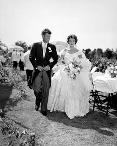 Their  Wedding At  Hammersmith Farm in Newport, Rhode Island 12-9-1953 .❤✿♡❁❤❤❤❤✿♡❀❤ http://en.wikipedia.org/wiki/Wedding_dress_of_Jacqueline_Bouvier  http://en.wikipedia.org/wiki/John_F._Kennedy   http://en.wikipedia.org/wiki/Jacqueline_Kennedy_Onassis