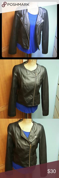 The Limited Black Assymetrical Leather Jacket Black Assymetrical Leather Jacket. Has gold zippers and button. Only wore it a couple of times. Excellent condition! The Limited Jackets & Coats
