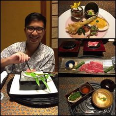A very happy hubs with his dinner..appetizer of abalone cherry blossom salmon clam/ seasonal sashimi/ beef grilled on hot stone/ rock trout and sea bream roe in clear broth.. Love how much the Japanese take pride in playing intricate and beautiful dishes to tell a story.  . #foodporn #latergram #kaiseki #sakura #hakoneginyu #omnomnom #tryingtobedemure #ecshutravel #honeymoon #love by shu_wen