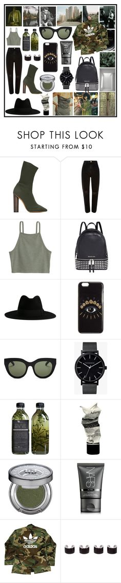 """Untitled #448"" by seetheotheroceans ❤ liked on Polyvore featuring adidas Originals, River Island, Michael Kors, Yves Saint Laurent, Kenzo, Le Specs, The Horse, AMBRE, Aesop and Urban Decay"