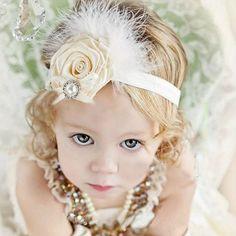 Venda quente moda bebê Headwear crianças crianças Rose flor Feather Headbands menina do cabelo acessórios de cabelo arcos presentes de natal(China (Mainland))