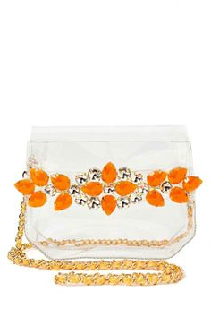 at ruche // orange gems clear bag Clear Plastic Bags, Clear Bags, Prom Accessories, Fashion Accessories, Expensive Purses, Transparent Bag, Zara Bags, Shopping Bag, Purses And Bags