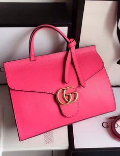 Gucci Small GG Marmont Leather Top Handle Rose Red.  View more Gucci bags at http://www.luxtime.su/gucci-bags