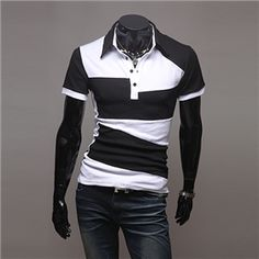 Mens Fashion Contrast Color Strip Short Sleeve Polo Shirts make you looks younger and great-hearted.Buy mens strip polo short sleeve t-shirts on Banggood,you will enjoy best products and service. Mens Polo T Shirts, Short Sleeve Polo Shirts, Casual Styles, Style Casual, Men's Style, Cheap Trendy Clothes, Trendy Outfits, Men Clothes, Chemise Fashion