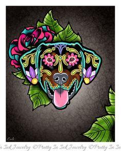 Doberman - Floppy Ear Edition - Day of the Dead Sugar Skull Dog Art Print by Pretty In Ink Jewelry