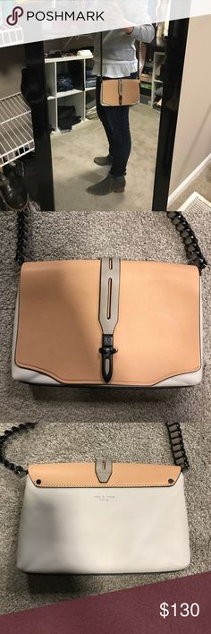 Rag and Bone crossbody Cute Rag and Bone soft leather crossbody. The leather is honestly like butter. The light color is almost a grey tone with a peachy nude accent. Black hardware. Leather weaved through the crossbody strap. Used maybe 2 times. 8.5 x 5x 1.5 crossbody drop is about 21.5 inches. I am 5ft even for height reference. I have the original tag, care card and dust bag. rag & bone Bags Crossbody Bags