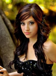 copper lowlights on brown hair | images of black hair with copper highlights wallpaper