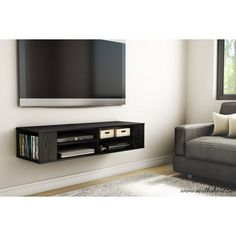 South Shore City Life Wall Mounted Media Console - (w) x (d) x (h) (Black Oak), South Shore Furniture Tv Furniture, Furniture Deals, Living Room Furniture, Furniture Outlet, Online Furniture, Wall Mount Entertainment Center, Entertainment Room, Tv Stand Bookshelf, Wall Mounted Media Console