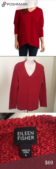 """Eileen Fisher Red Textured Knit V-Neck Sweater L This is a beautiful Eileen Fisher sweater. Size large. Red/rust color Knit fabric made of 90% cotton 10% silk. Bust 44"""" length 24"""". No flaws. Worn twice. Eileen Fisher Sweaters V-Necks"""