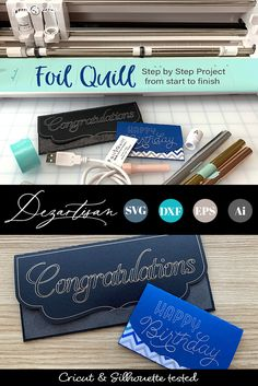 Foil Quill Step by Step Project . Silhouette Cameo Tutorials, Silhouette Projects, Craft Foil, Silhouette School, Diy Craft Projects, Craft Ideas, Circuit Projects, We R Memory Keepers, Craft Wedding
