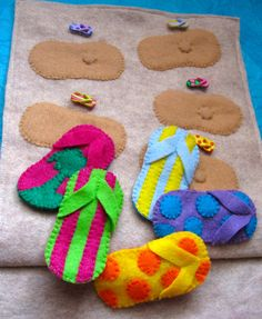 matching - use same size flops.    other items on opposite page with beach bag = blanket, SPF, radio