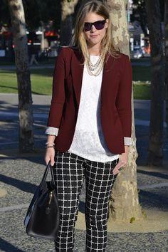 Britt+Whit: Whit styles a burgundy blazer