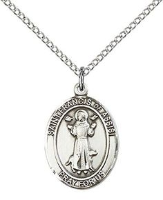 Sterling Silver St Francis of Assisi Pendant with 18 Stainless Steel Lite Curb Chain Patron Saint of AnimalsCatholic Aktion ** Want additional info? Click on the affiliate link Amazon.com on image.