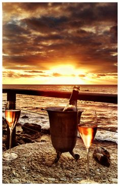 Champagne sunset by the sea