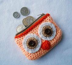 Peach orange Crochet Owl Coin Purse by Lacebox on Etsy Crochet Cat Pattern, Crochet Owls, Love Crochet, Crochet Blanket Patterns, Crochet For Kids, Crochet Flowers, Knit Crochet, Crochet Coin Purse, Crochet Pouch