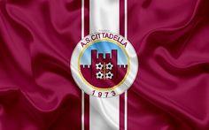 Download wallpapers AS Cittadella, 4k, Serie B, football, silk texture, emblem, silk flag, Cittadella FC logo, Italian football club, Cittadella, Italy