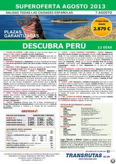 Descubra PERÚ / 12 días ¡¡Superoferta Plazas Garantizadas: 7 Agosto!! precio desde 2.879€ - http://zocotours.com/descubra-peru-12-dias-superoferta-plazas-garantizadas-7-agosto-precio-desde-2-879e/