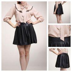 Pleated Leather Skater Skirt