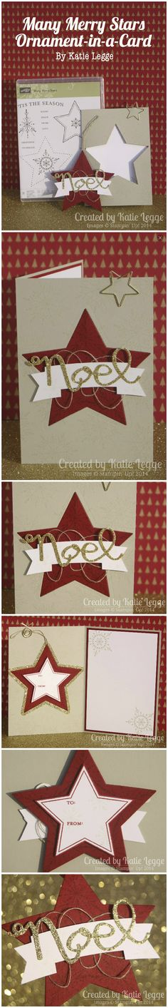 Many Merry Stars Ornament-In-A-Card | Katie Legge | #StampinUp #Christmas #ManyMerryStars http://rachelleggestampinup.wordpress.com/2014/10/27/many-merry-stars-ornament-in-a-card/